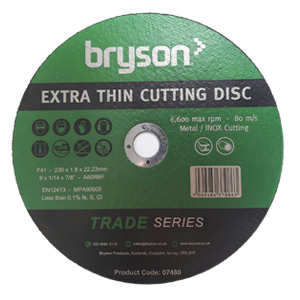 Bryson Trade Series Extra Thin Metal Cutting Discs - 230mm