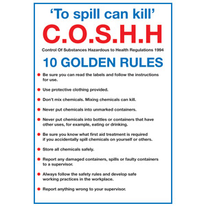 297x210mm COSHH 10 Golden Rules