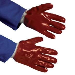 PVC Knitwrist Gloves - Red - Large - Pack of 10