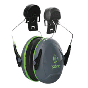 Sonis®1 Ear Defenders Helmet Mounted Dark Grey Cup/Extra Visibility Green Plate (SNR 26)