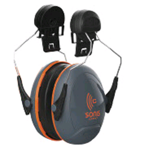 Sonis® Compact Ear Defenders Helmet Mounted Dark Grey Cup/Extra Visibility Orange Plate (SNR 31)