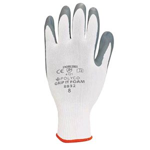 Grip It Foam Gloves - Grey & White - Size 10/Extra large