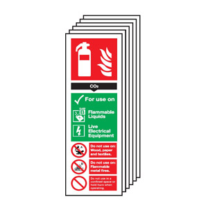 300x100mm Carbon Dioxide Extinguisher For Use On - Nite glo Self Adhesive