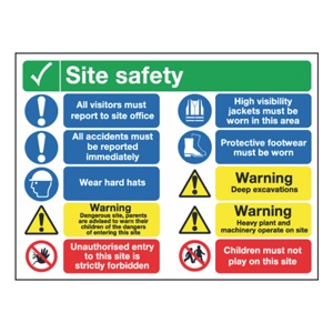 600x800mm Site Safety All Visitors Must