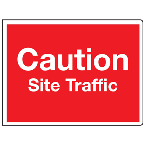 450x600mm Caution Site Traffic stanchion sign