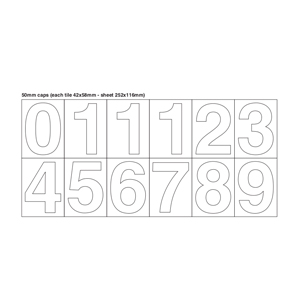 Sheet Of Numbers (0-9) White On Clear 50mm