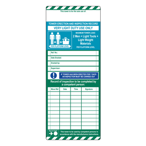Scafftag Standard Towertag Inserts Pack of 10
