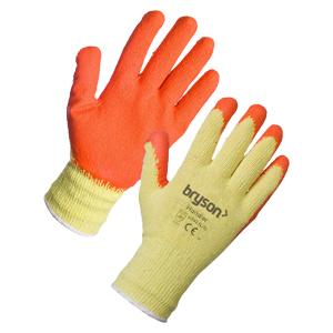 General Purpose Latex/Cotton Grip Gloves - Orange - Size 10/Extra Large - Pack 12