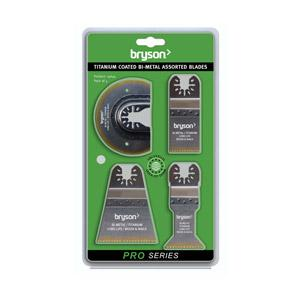 Bryson Pro Series Titanium Coated Long Life Bi-Metal Assorted Blades - 4 Pack