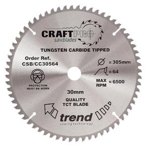 Trend Craftpro Circular Saw Blade for Crosscut - 305 x 64t x 30mm