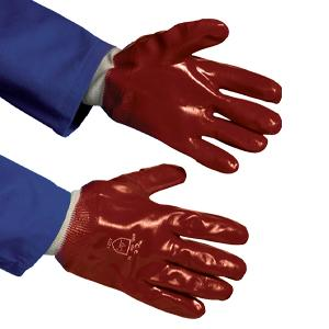 PVC Knitwrist Gloves - Red - Large - Pack of 12