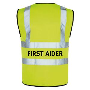 Yellow Hi Vis Waistcoat + First Aider Logo Medium