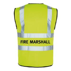 Yellow Hi Vis Waistcoat + Fire Marshall Logo Medium