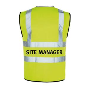 Yellow Hi Vis Waistcoat + Site Manager Logo Medium