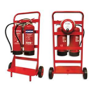 Double Fire Extinguisher Stand c/w Rotary Hand Bell