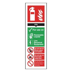 300x100mm Carbon Dioxide Extinguisher For Use On - Nite Glo Rigid