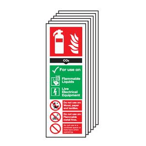 300 x 100mm CO2  Fire Extinguisher Sign - Self Adhesive Pk of 6