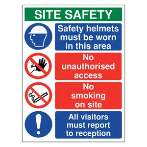 800x600mm Site safety - safety helmets must be worn in this area - Rigid