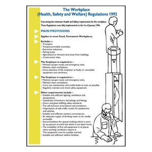 600x420mm The Workplace Health Safety & Welfare Regulations 1992 Wallchart
